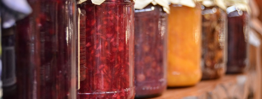 Rows of Jam on a Market Stall