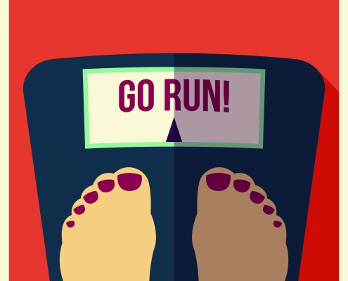 "Feet on scales telling person to ""go run"""