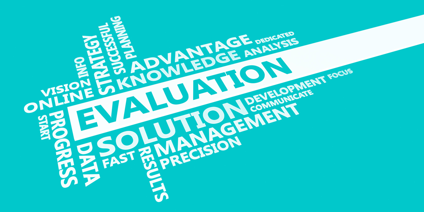 Evaluation Presentation Background in Blue and White