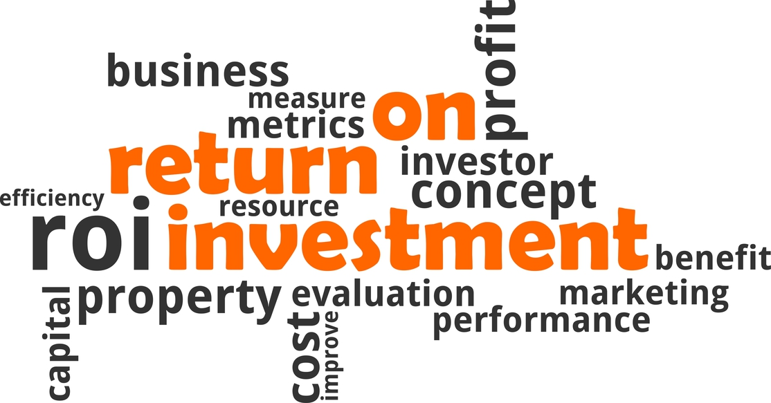 Cloud of words relating to return on investment
