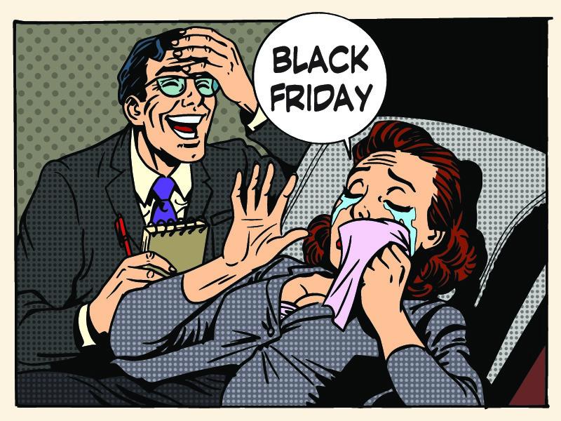 Pop Art cartoon depicting stress that a black friday marketing promotion can cause