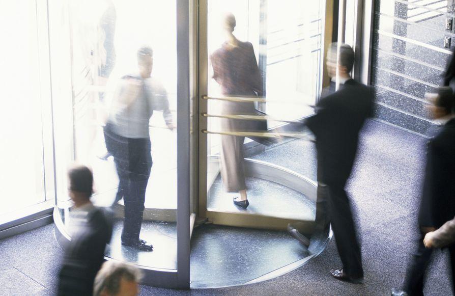 Revolving door at building entrance