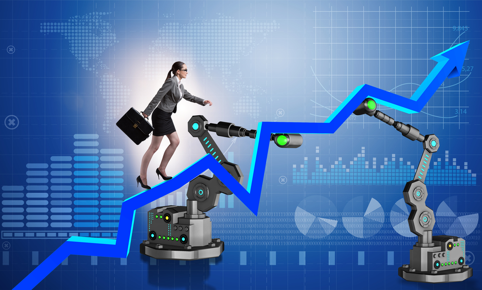 Business woman being guided up a increased sales graph by robotic arms.