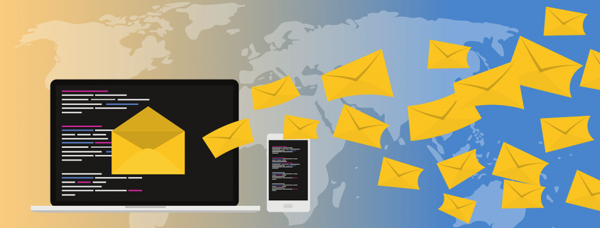Graphic depicting email marketing campaign being sent