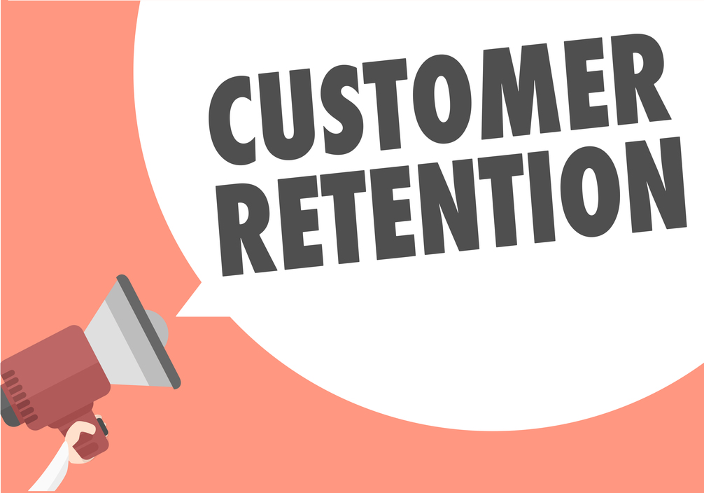 "The words ""customer retention"" emitting from a Megaphone"