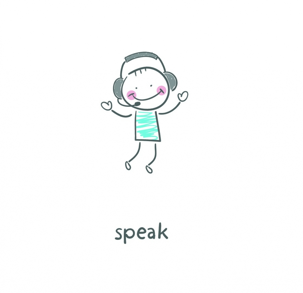 "Cartoon of a person with a headset on with the word ""speak"" underneath"