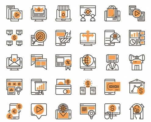 Series of icons showing vast array of digital marketing channels