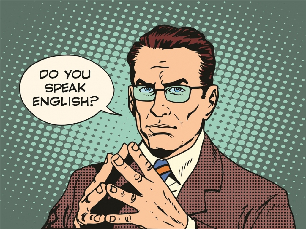 "Businessman in pop art style asking the question ""do you speak English"""