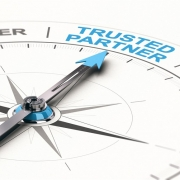 3D Compass pointing at Trusted Partner as opposed to supplier