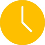 Yellow icon of a clock